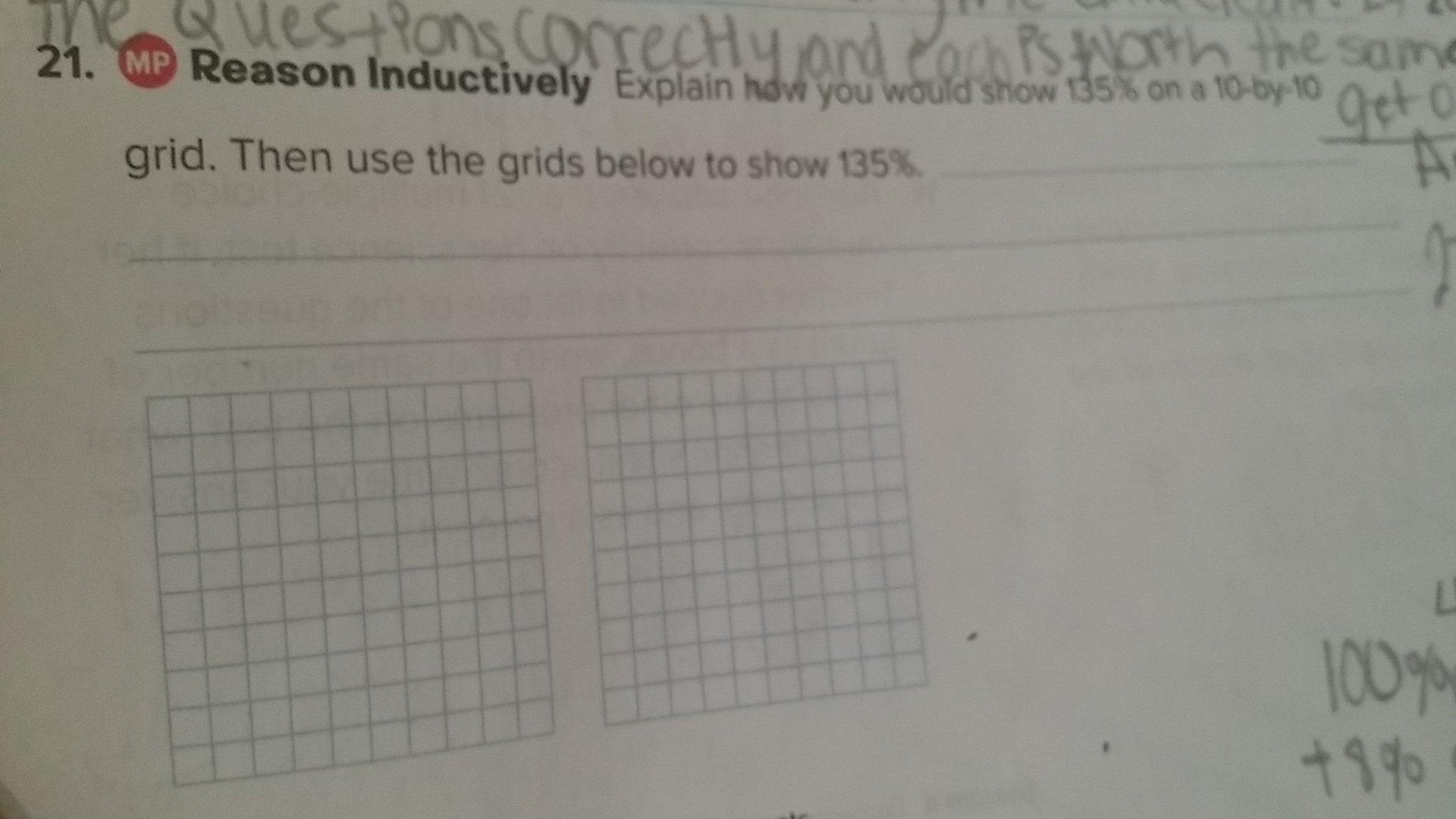 explain how you would show 135 on a 10 by 10 grid then use the