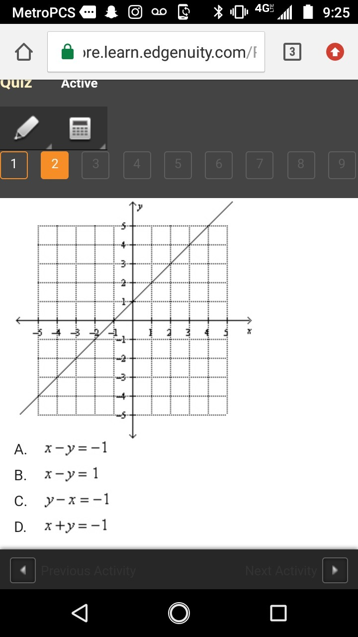 Match A Standard Form Equation With The Graph Below Brainly Com