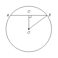 The radius of circle O is 32, and OC=13. The diagram is not drawn ...