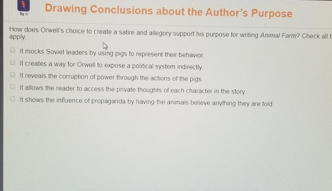 How Does Orwell S Choice To Create A Satire And Allegory Support