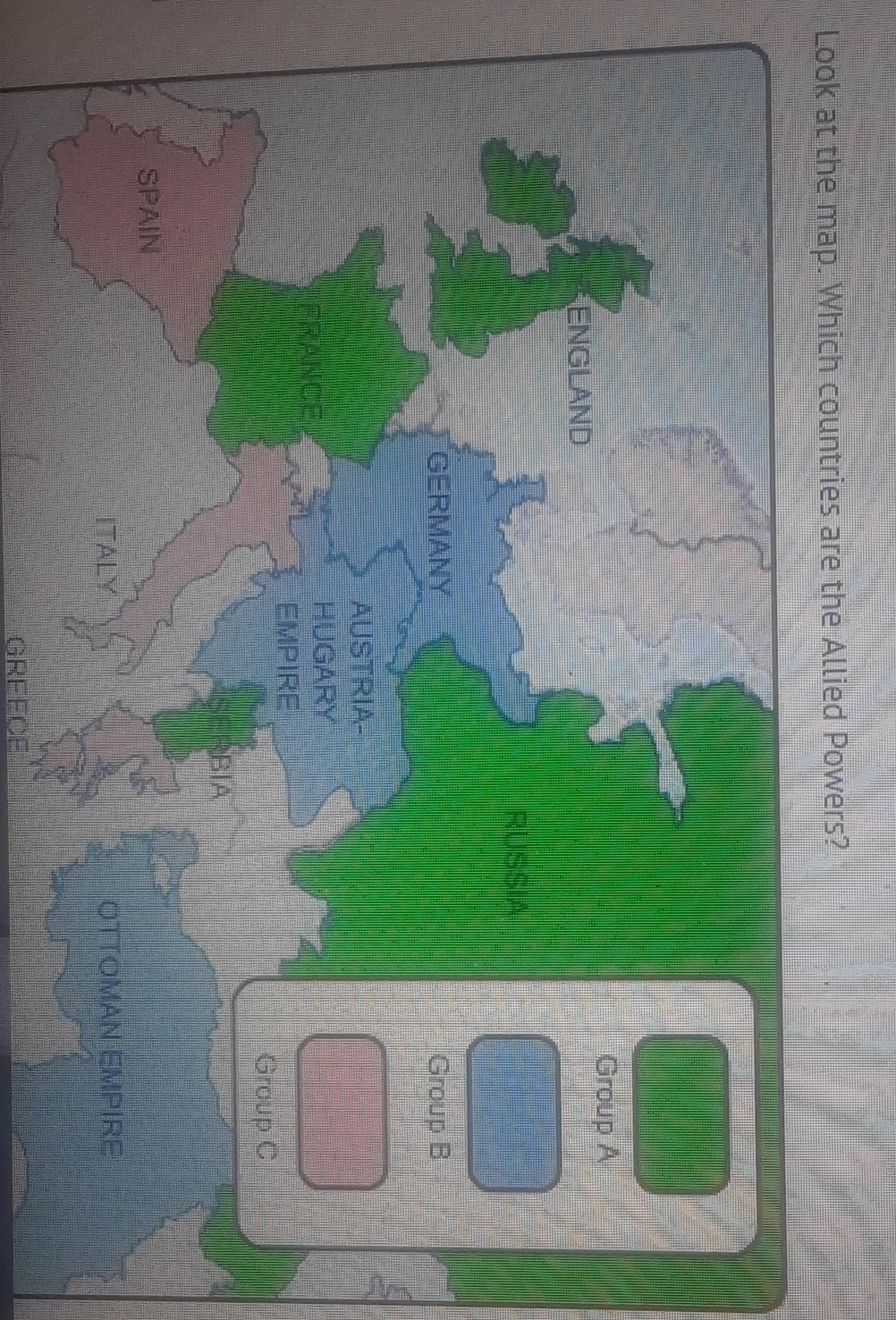 Picture of: Look At This Map Which Countries Are The Allied Powers Group A England France Russia Serbiagroup Brainly Com