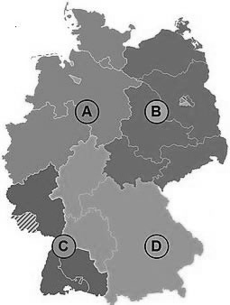 Map Of Germany Divided.The Map Below Shows Germany Divided Into Four Quadrants The Map Is