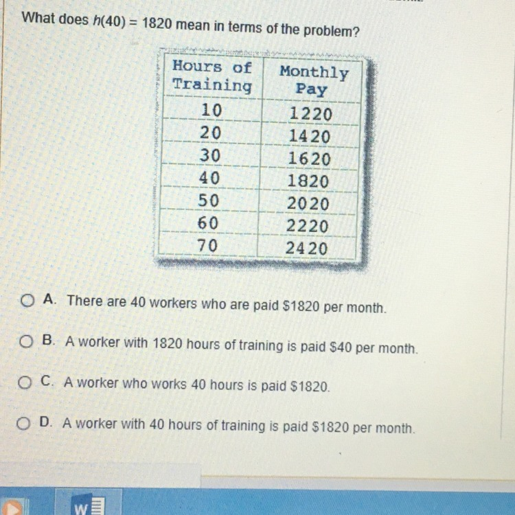 What does h(40)=1820 mean it terms of problem?!!! HELPP