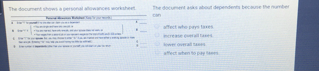 The document shows a personal allowances worksheetThe document – Personal Allowances Worksheet