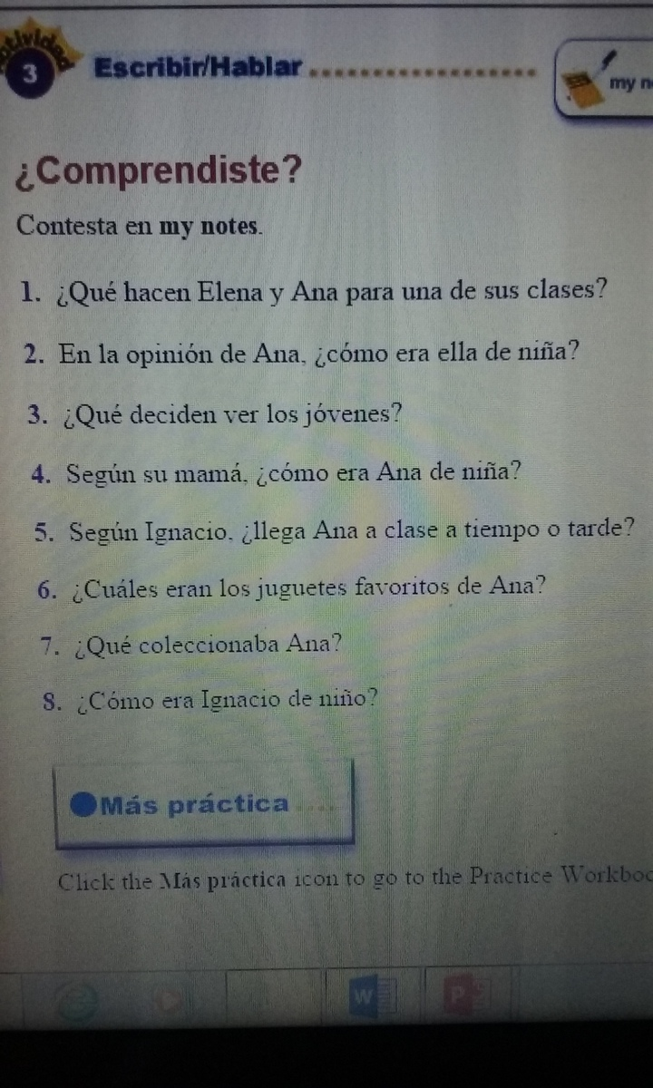 Spanish 2: please answer all in 1-8 Passage/reading: Realidades 2 ...