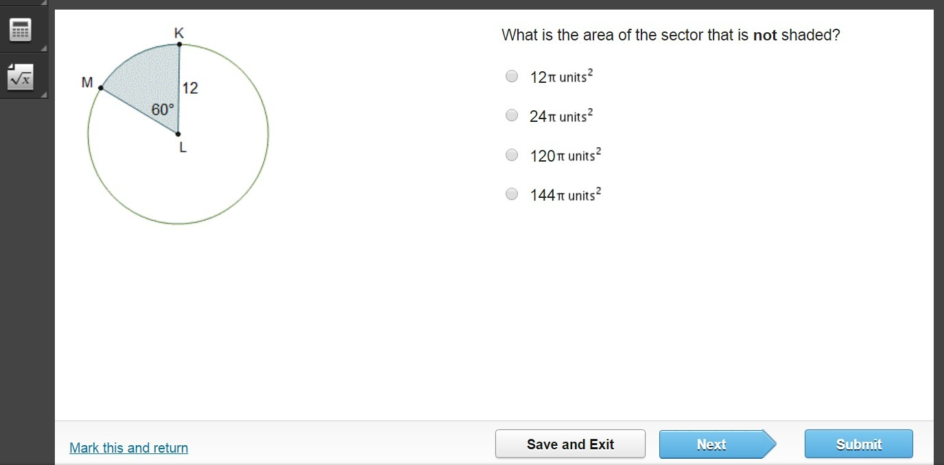 Question 3 Find the area of the shaded sector if BCA 120