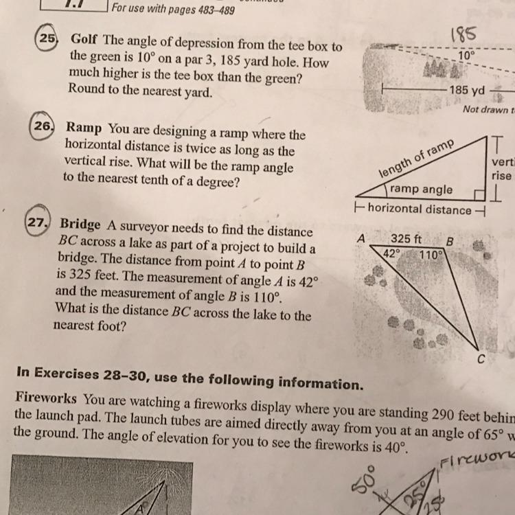 How do I do #27? Using trigonometric ratios or inverse