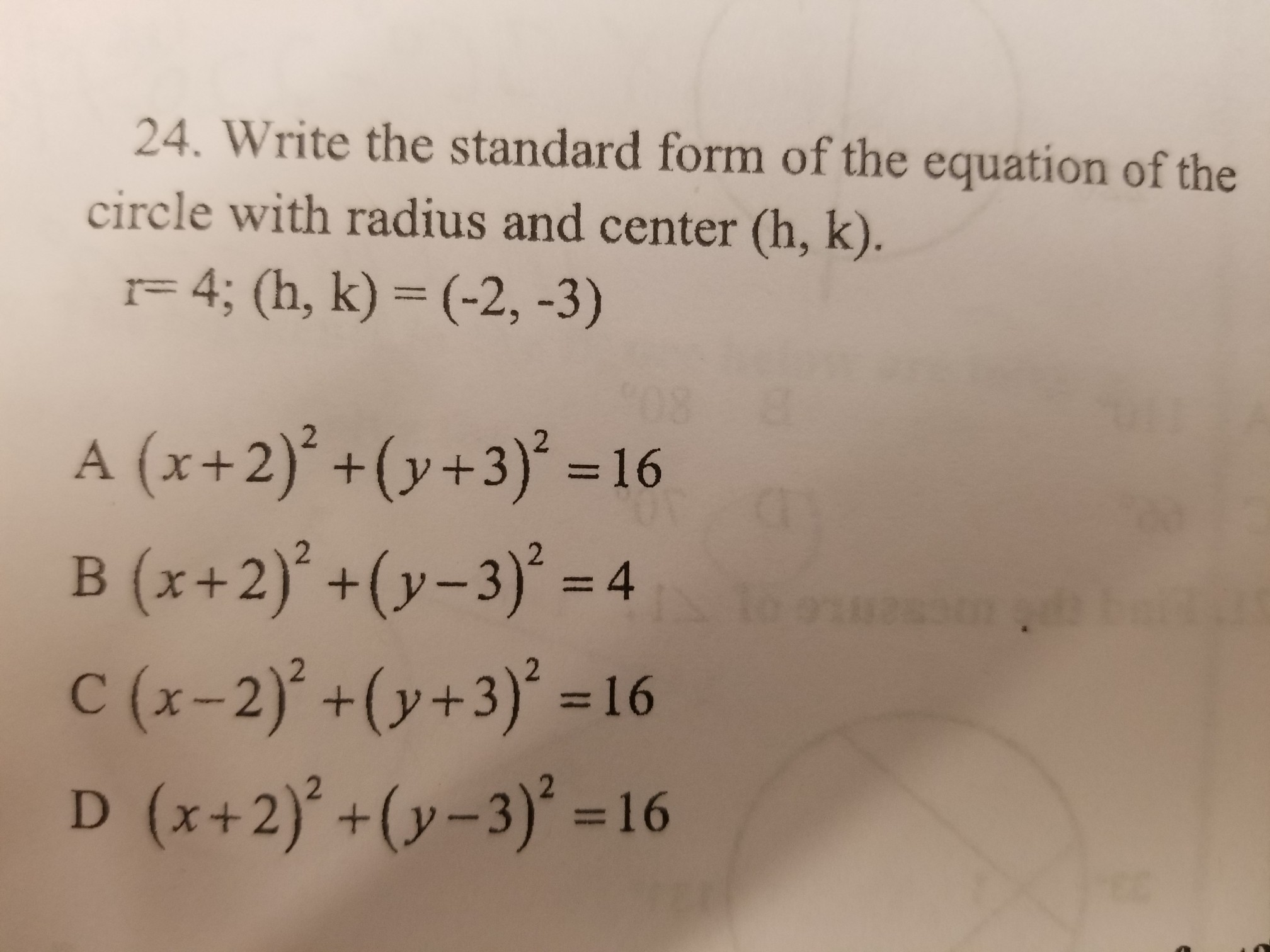 Write The Standard Form Of The Equation Of The Circle With Radius