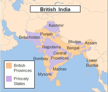 The map shows British India. What does this map of British India in India Princely States Map on india taj mahal, india bombay, india independence movement, india punjab, india delhi, india harappan civilization, india british raj, india biggest cities, india thar desert, india map pre-1947, india economy,