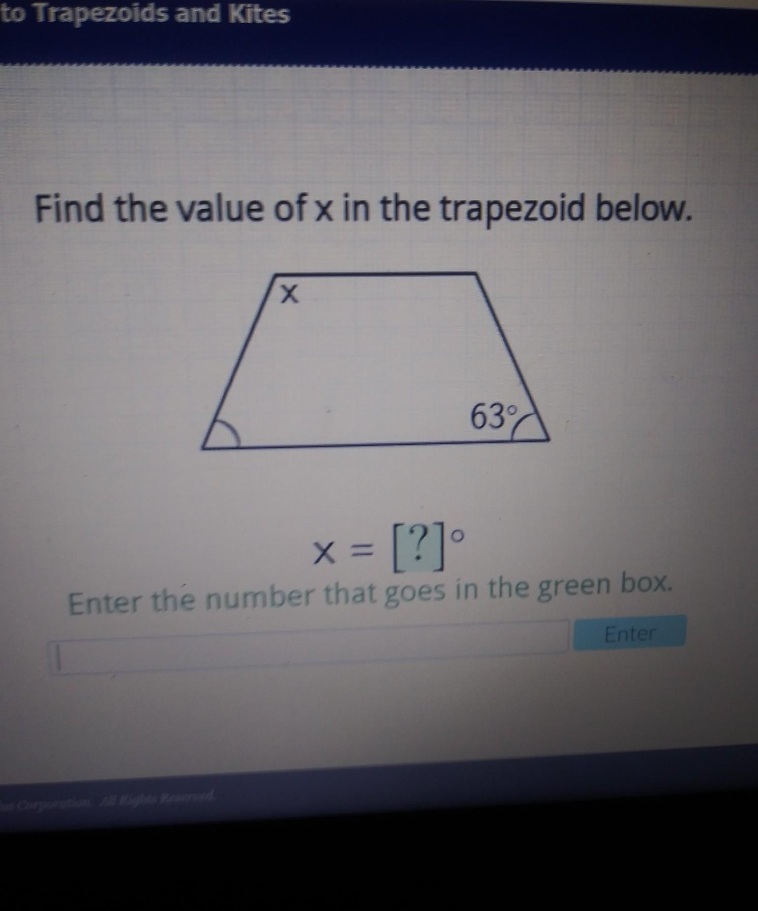 Find The Value Of X In The Trapezoid Below - Brainly.com