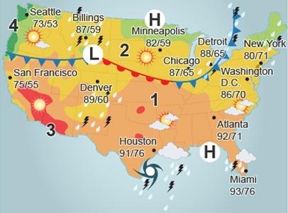 Plzzzzzzzzz Help E E Examine The Weather Map Picture Which
