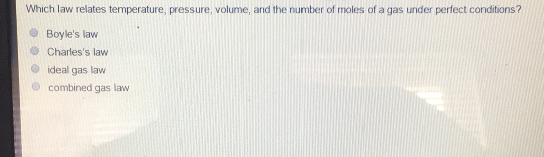 Which law relates temperature, pressure, volume, and the