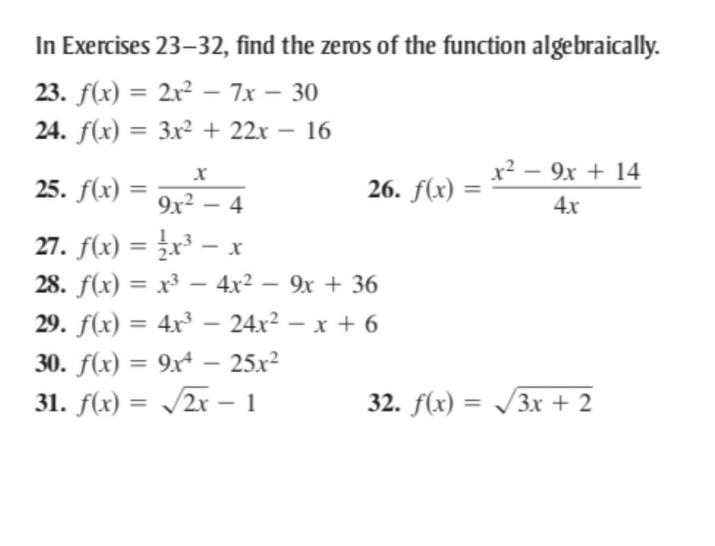 I need help solving these problems. I know I'm asking a lot ... Mathway Find Zeros on