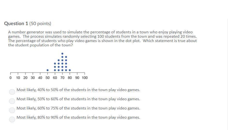 A number generator was used to simulate the percentage of students
