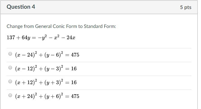 Change From General Conic Form To Standard Form 13764y Y2 X2