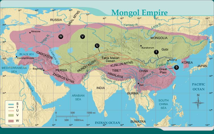 Who conquered the area shaded in green on the map? A ... on hulagu khan, vladimir lenin, khabul khan map, bruce lee, huns map, jack kevorkian, napoleon map, batu khan, mongol empire, mongol invasion of europe, ghengis khan map, marco polo map, jeanne d'arc, khan dynasty map, road trip map, amelia earhart map, ming dynasty, che guevara, robin hood map, golden horde, karl marx, kublai khan, great khan map, yuan dynasty, julius caesar map,