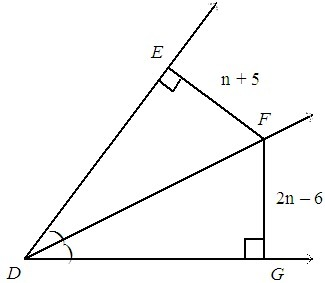 line DF bisects angle EDG. find FG. The diagram is not drawn to ...