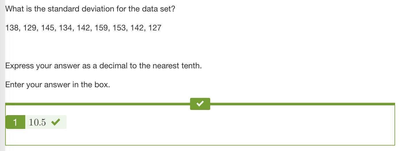 What is the standard deviation for the data set? 138, 129
