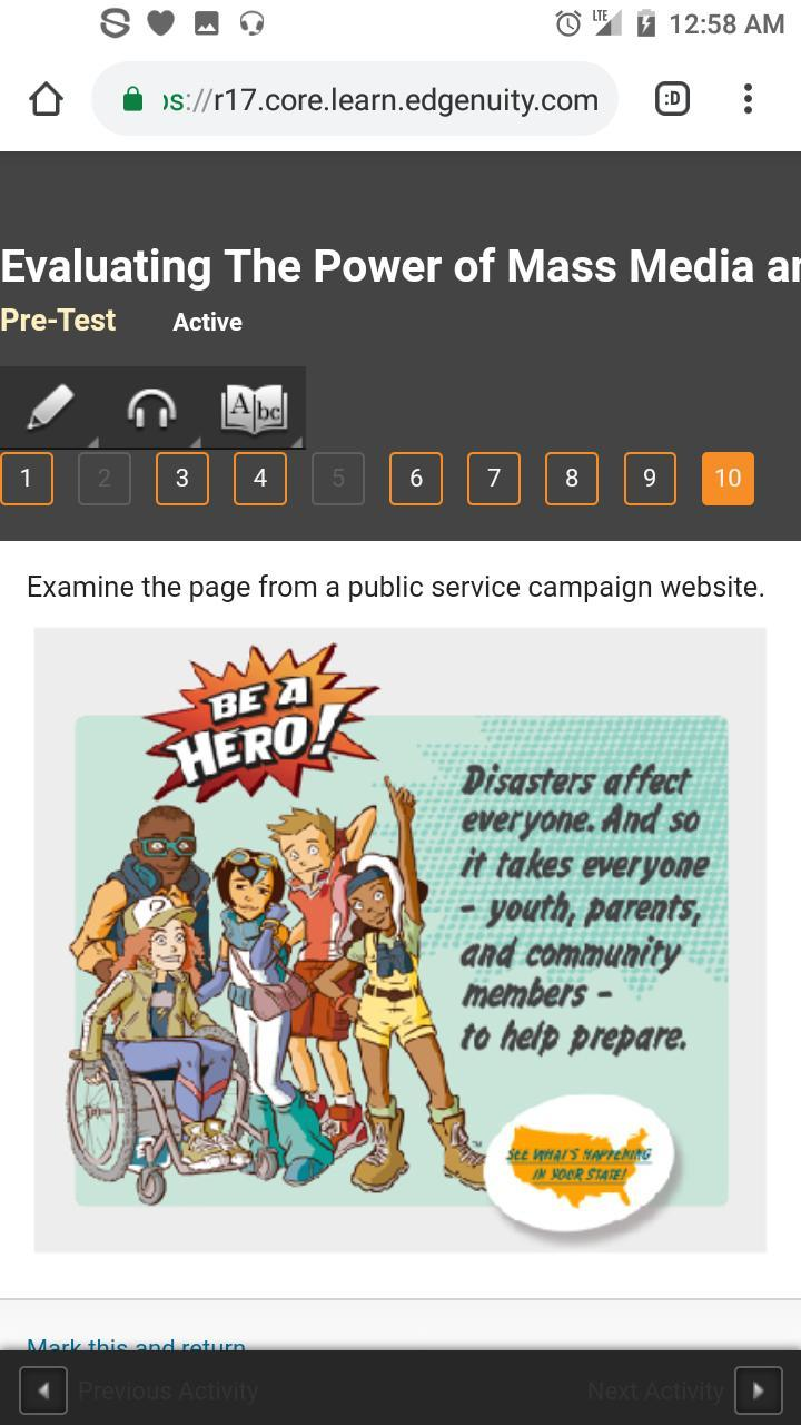 Examine the page from a public service campaign website ...