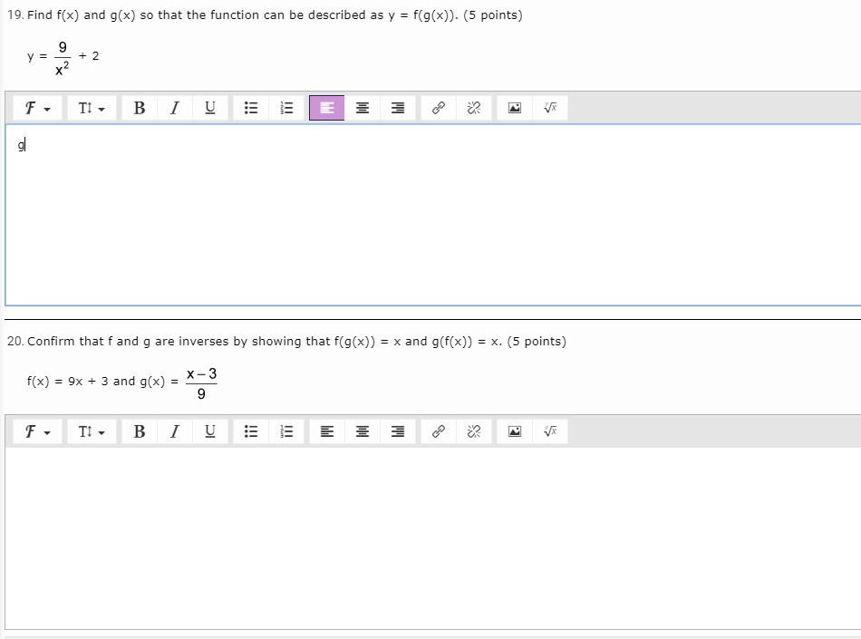 How would I confirm that f and g are inverses by showing