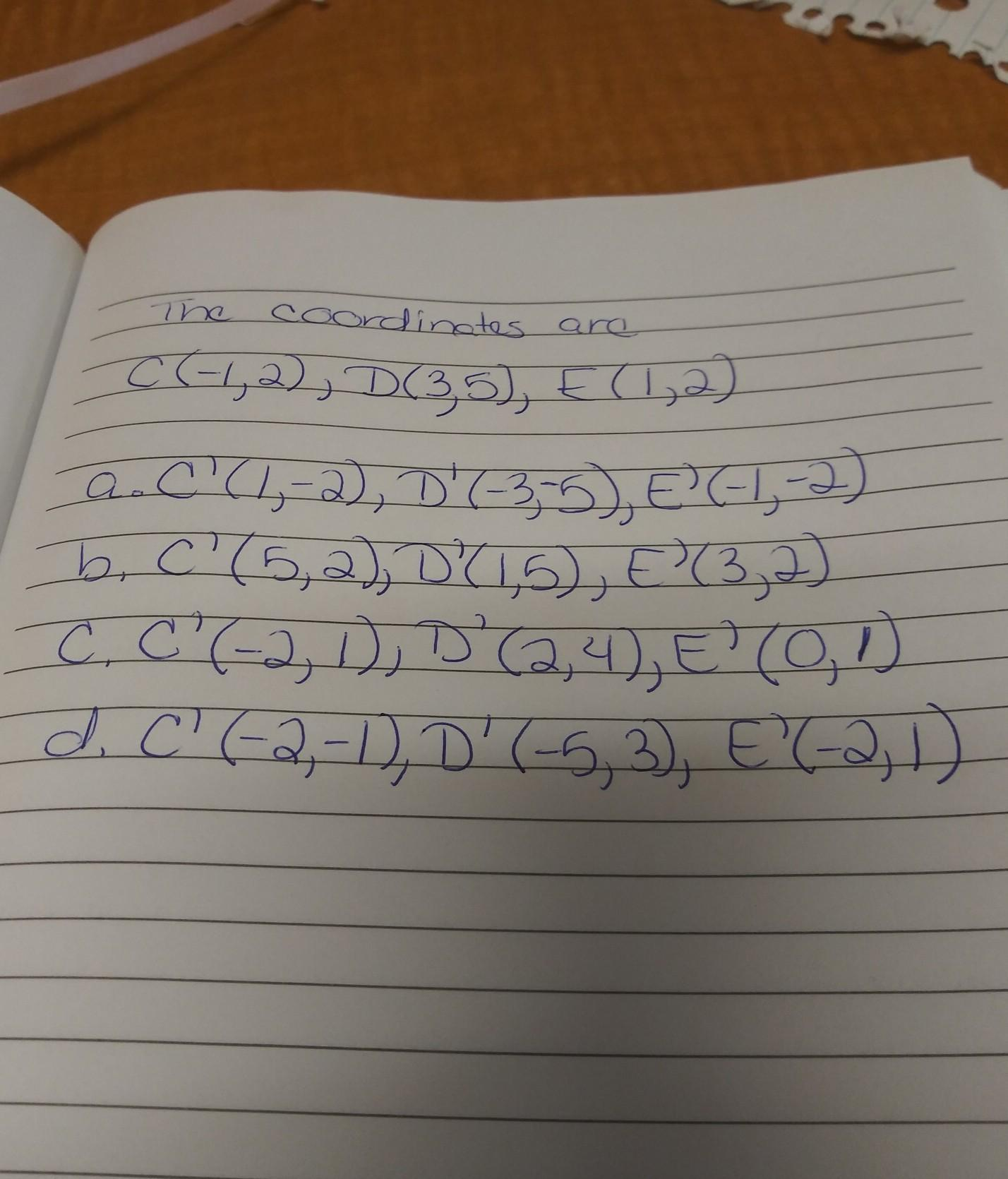 find the coordinates of the vertices of a triangle after a