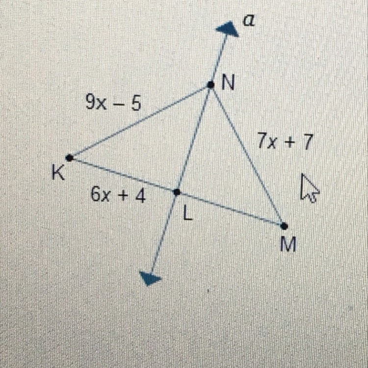 In The Diagram Line A Is The Perpendicular Bisector Of Km What Is
