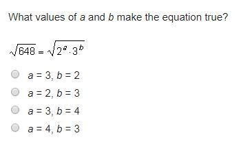 What Values Of A And B Make The Equation True 648 2a3b