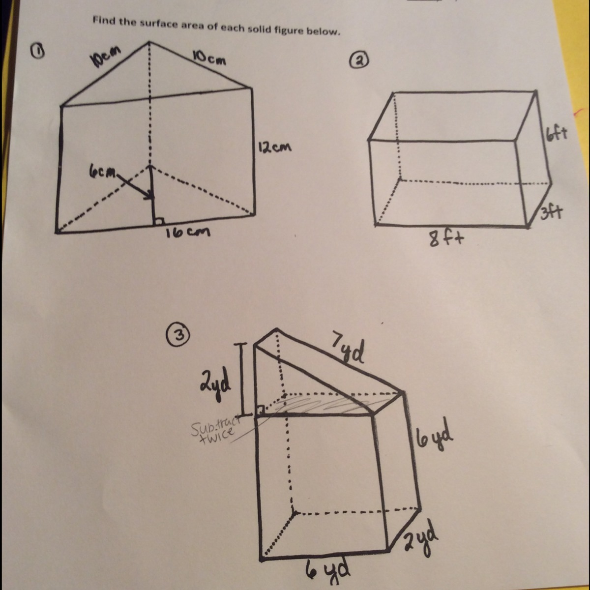 Find The Surface Area Of Each Solid Figure Below Print How To