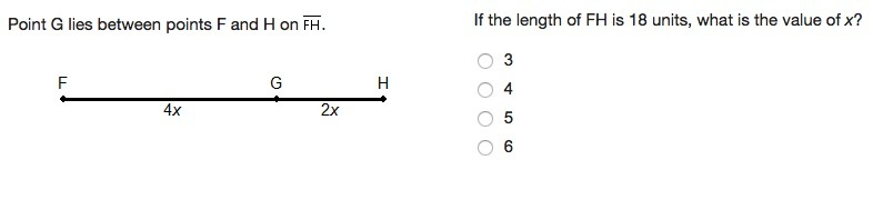 If the length of FH is 18 units, what is the value of x ...