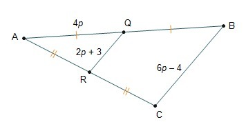 Points Q and R are midpoints of the sides of triangle ABC