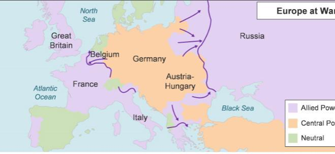 The Map Depicts World War I In Europe A Map Titled Europe At War The Central Powers Are Germany Brainly Com