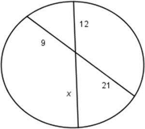 A circle with two chords is shown below. The diagram is not drawn ...