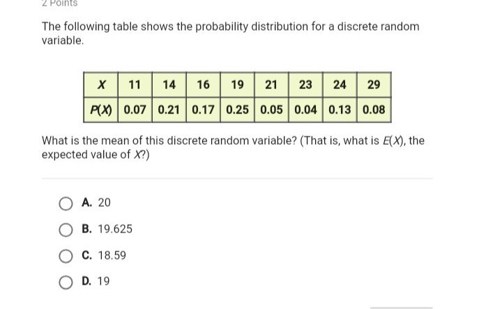 What Is The Expected Value Of X Brainly