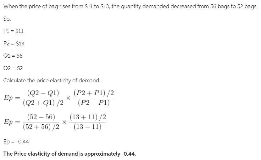 Consider The Following Demand Schedule For Bags Price 11 13 15