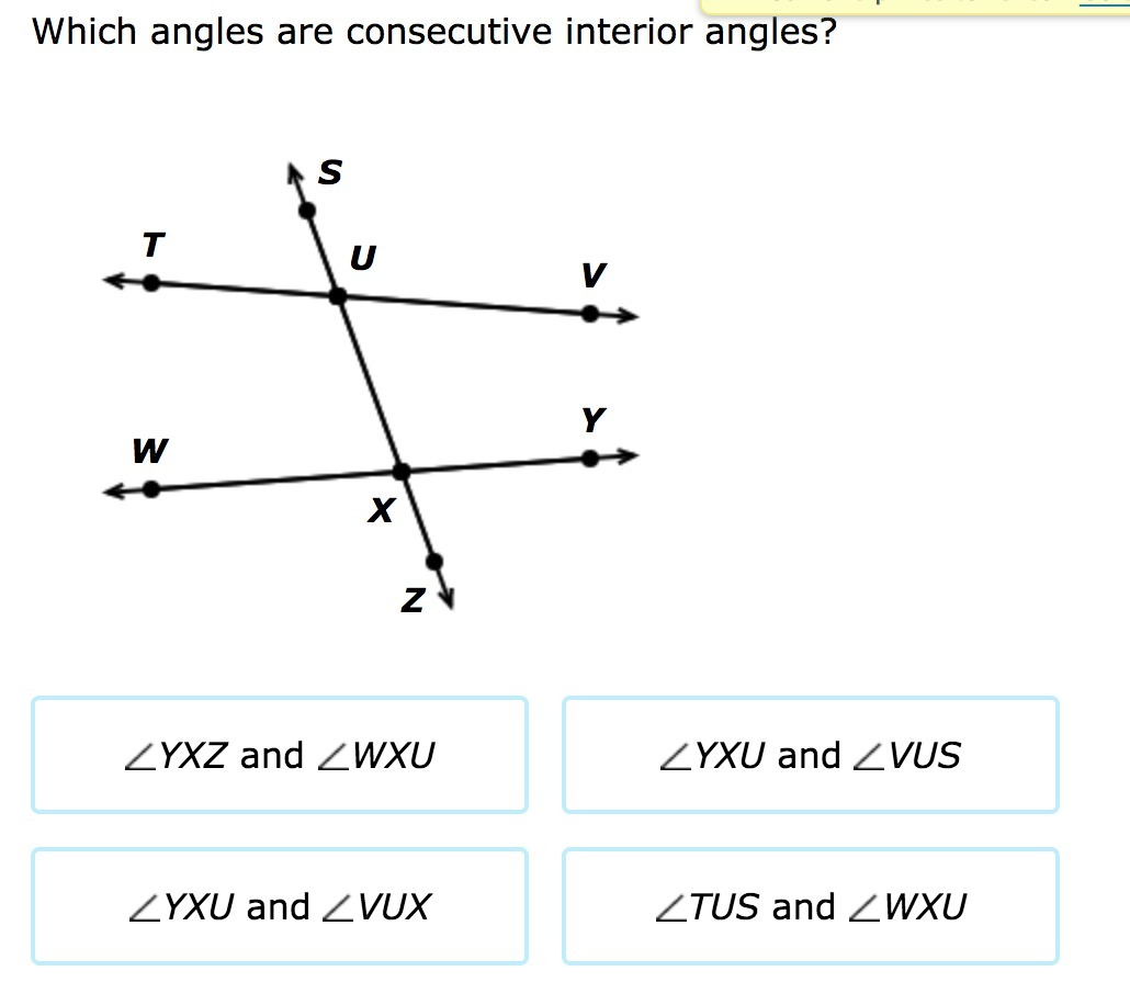 Which angles are consecutive interior angles? - Brainly.com
