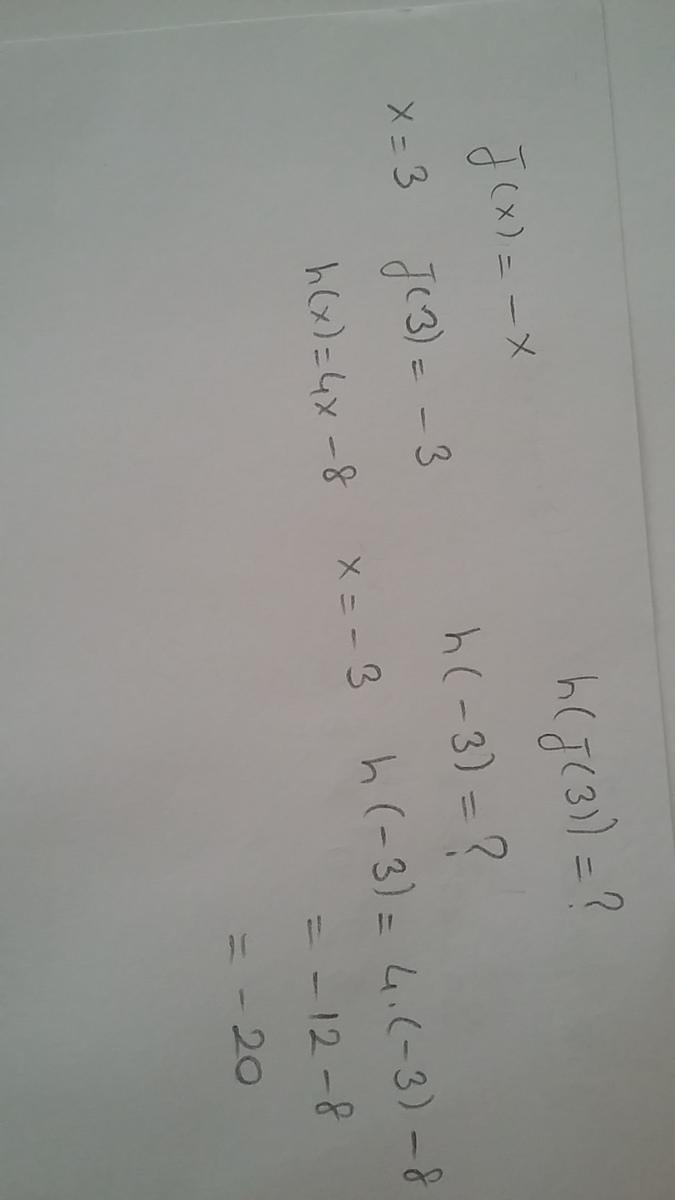 If h(x) = 4x 8 and j(x) = x, solve h[j(3)] and select the correct...