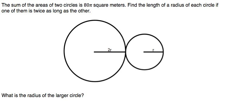 The sum of the areas of two circles is 80π square meters  Find the