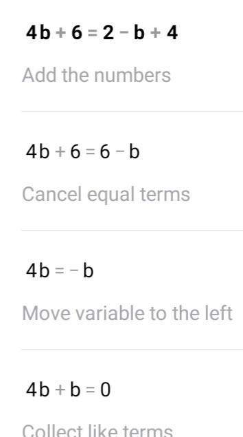 What is the solution to the linear equation? 4b + 6 = 2 ...