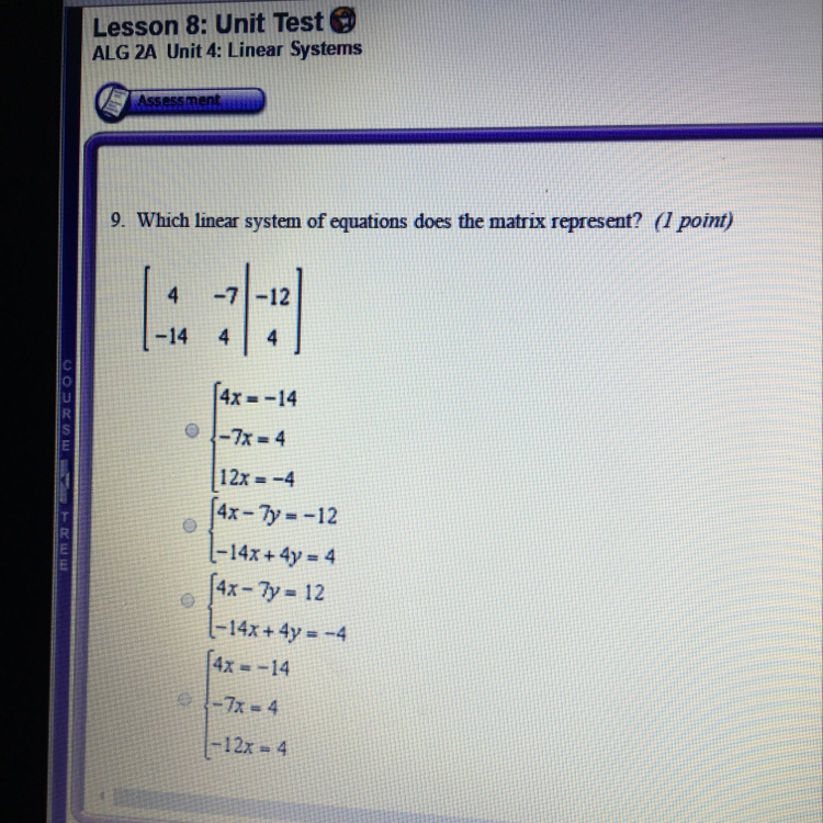 Which linear system of equations does the matrix represent
