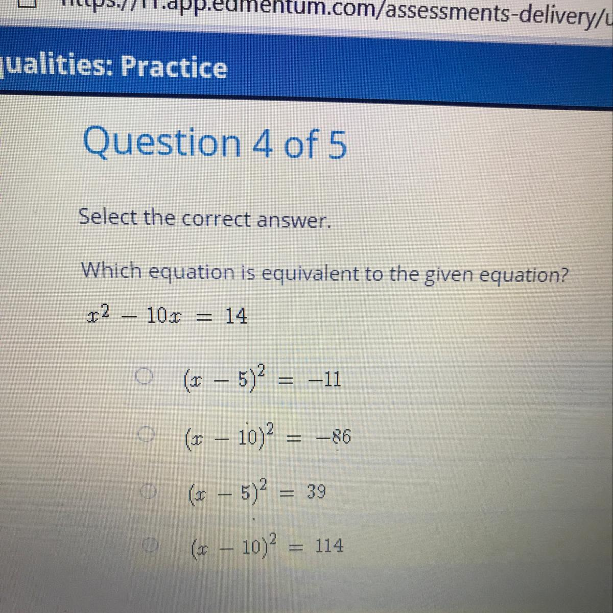 Which Equation Is Equivalent To The Given Equation
