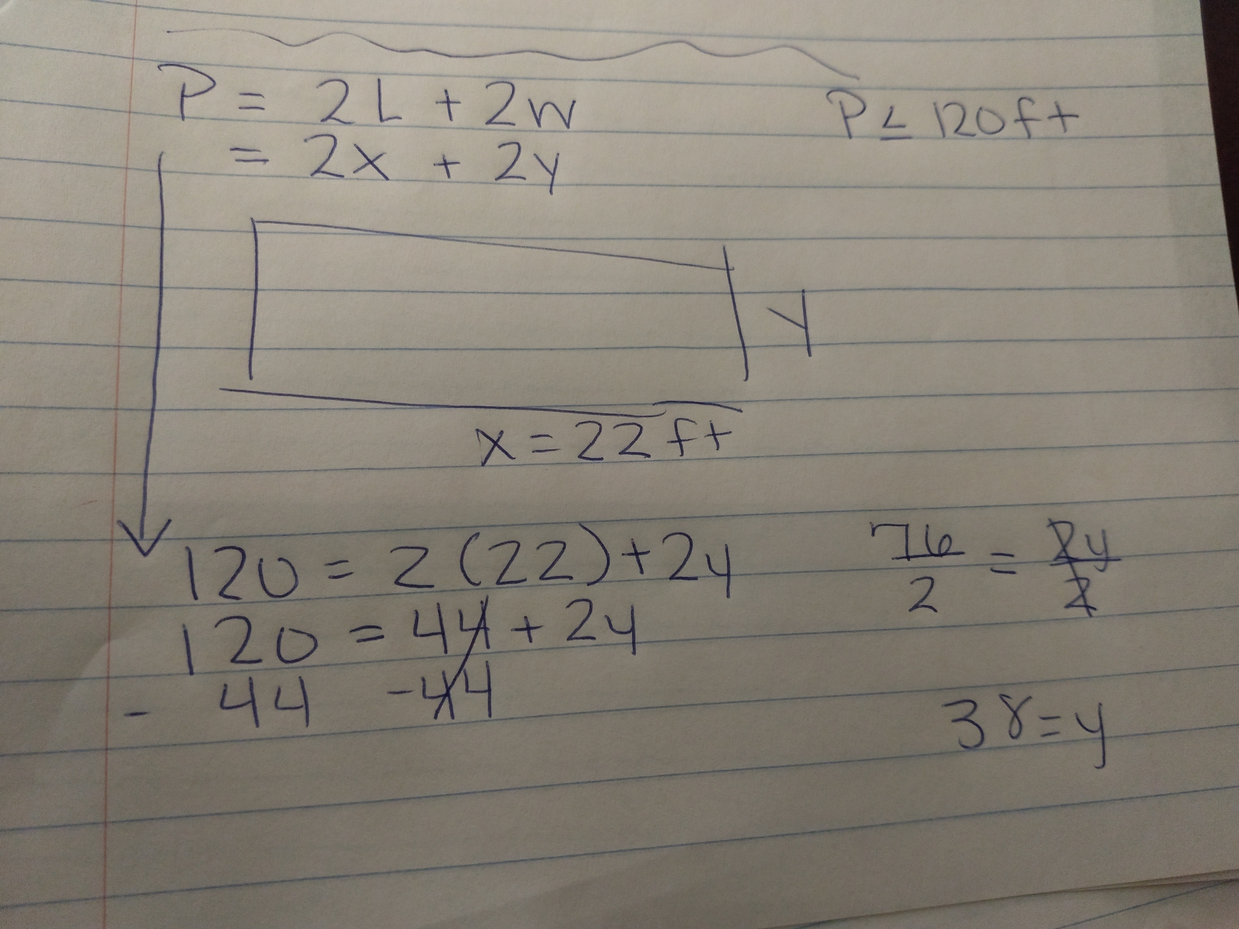 Adam Is Building A Rectangular Swimming Pool The Perimeter Of The Pool Must Be No More Than 120 Feet If The Length Of The Pool Is 22 Feet Write And Solve