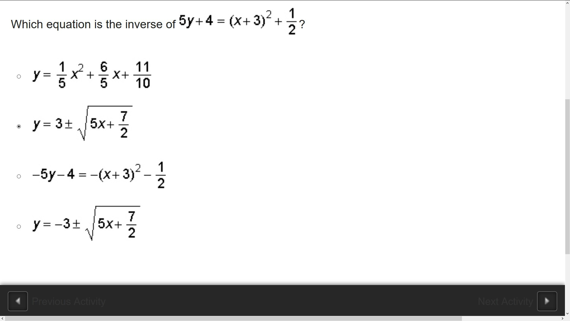 Which Equation Is The Inverse Of 5y 4 X 3 2 1 2 Brainly Com