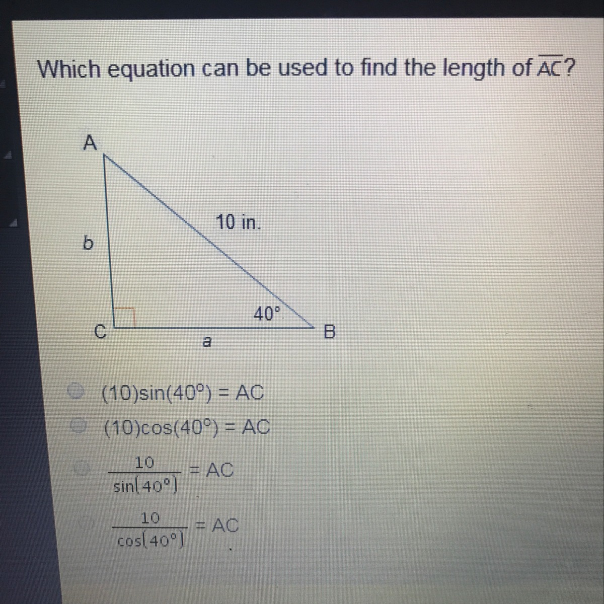 Which equation can be used to find the length of AC ...