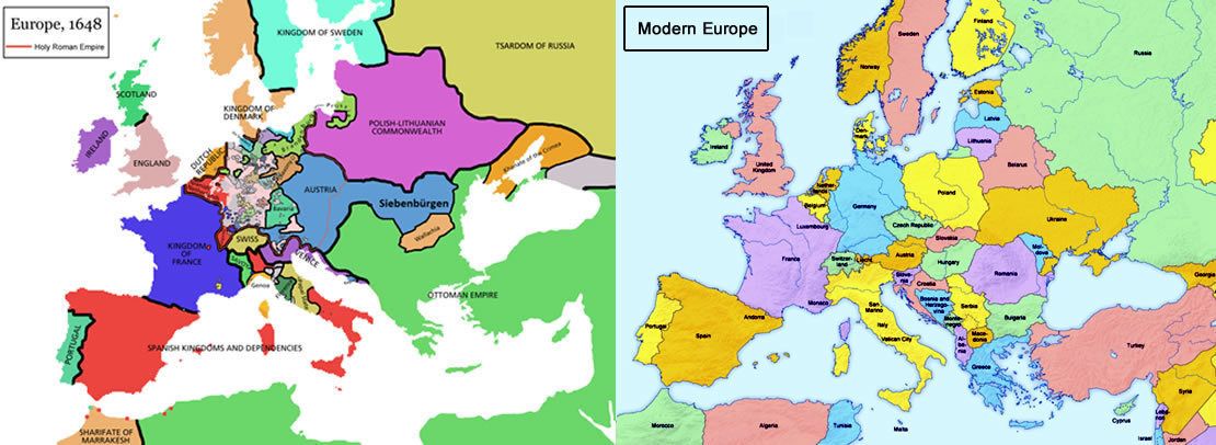 How does the map of modern Europe differ from the map of Europe in Define Political Maps on