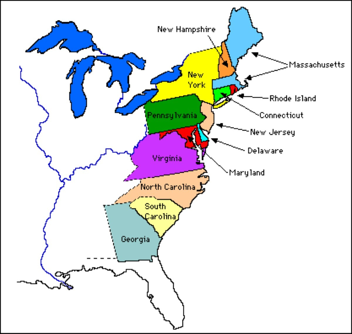 map of the thirteen colonies - Brainly.com