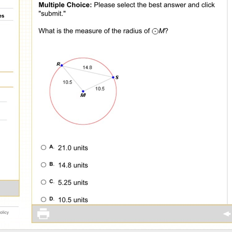 What Is The Measure Of The Radius Of M Please Help Brainly