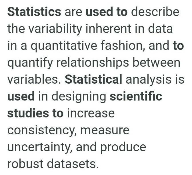 How can statistics be used in a scientific study ...