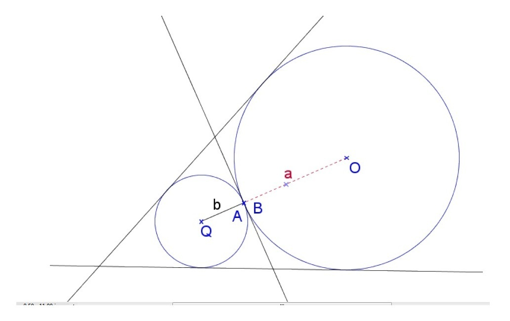 Two distinct circles that are tangent to each other at a