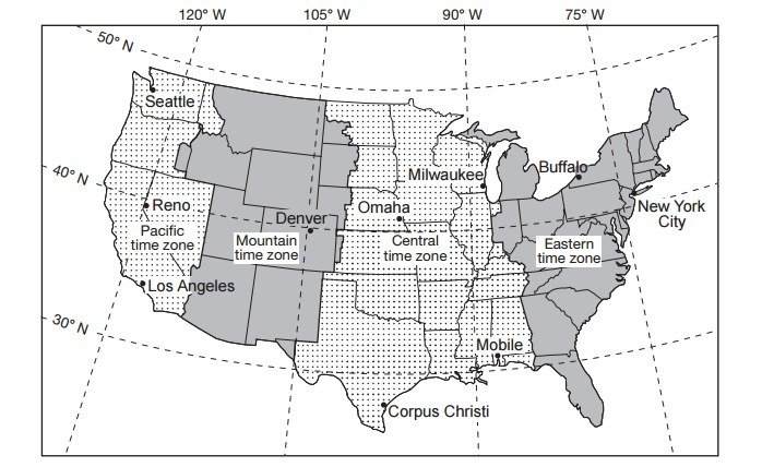 State The Number Of Degrees Of Longitude That Separates New York
