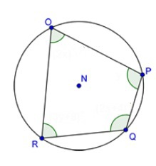 Quadrilateral OPQR is inscribed inside a circle as shown ...